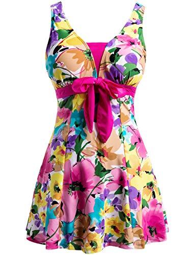 Wantdo Women's Floral Swimdress Modest Swimwear Slimming Push up Skirtini Swimsuit Rose Red 18W-20W