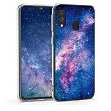 kwmobile Cover Compatibile con Samsung Galaxy A40 - Back Case Custodia in Silicone TPU Trasparente Galassia Rosa/Fucsia/Blu Scuro