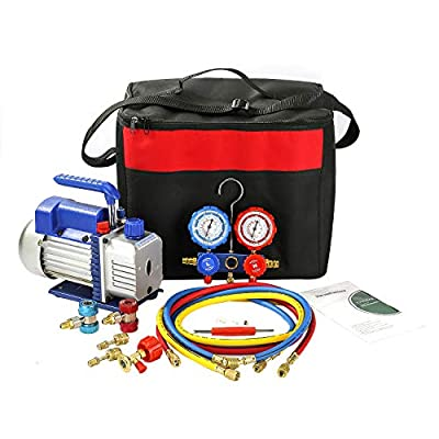 PBAUTOS Single Stage Vacuum Pump & Manifold Gauge Set with Carrying Tote