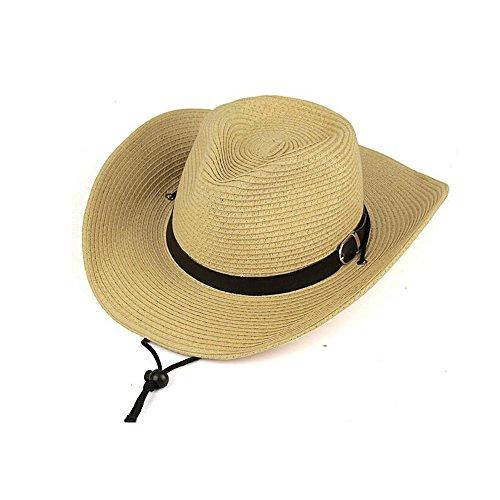 Pour homme Paille Cowboy Wide-brimmed tissé Chapeau d'été (Blanc crème), Homme, Beiger