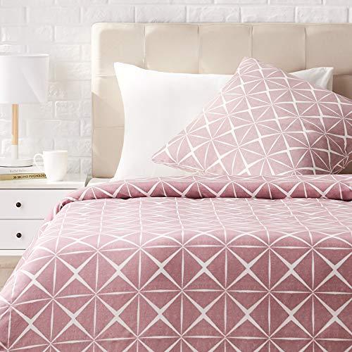 Amazon Basics - Juego de ropa de cama con funda de edredón, de satén, 140 x 200 cm / 65 x 65 cm x 1, Malva cuarzo