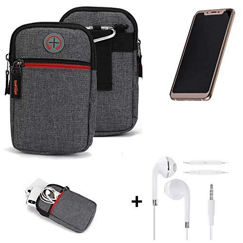 K-S-Trade® Gürtel-Tasche + Kopfhörer Für -Doogee V- Handy-Tasche Schutz-hülle Grau Zusatzfächer 1x