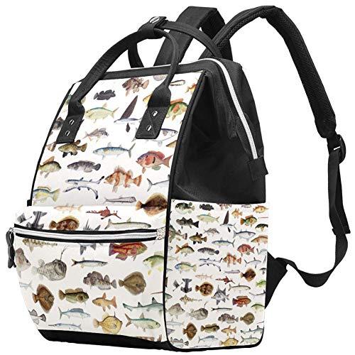 Grand sac à langer multifonction pour bébé - Motif de collection de poissons - Sac à dos de voyage pour maman et papa