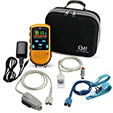 CMI Health Rechargeable Pulse Oximeter - Continuous Infant Monitoring (Up to 25 lbs) & Adult Finger Spot-Checking - Adjustable Alarm for Pulse Rate and SpO2 Levels - Carry Case