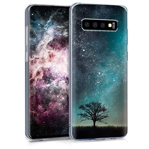 kwmobile Hülle kompatibel mit Samsung Galaxy S10 - Handyhülle - Handy Case Galaxie Baum Wiese Blau Grau Schwarz