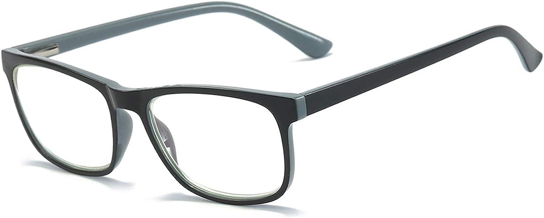 MMOWW Gafas de lectura anti-luz azul gafas de ordenador antifatiga de marco completo rectangulares neutrales y de moda, con bisagras de resorte