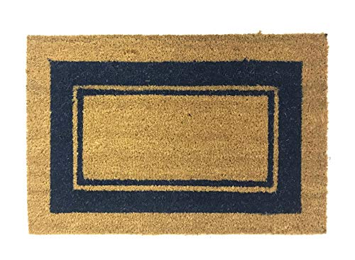 De'Carpet Felpudo Coco Cenefa Azul Económico Natural