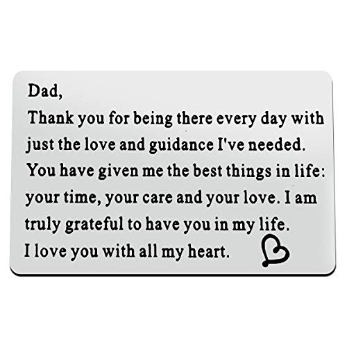 Baixian Engraved Wallet Insert Card for Dad, Christmas Birthday Gifts for Daddy, Mini Love Note Gifts for Father from Daughter Son, I Love You Dad Gifts, Father's Day Thanksgiving Gifts for Daddy Father, Silver, Small