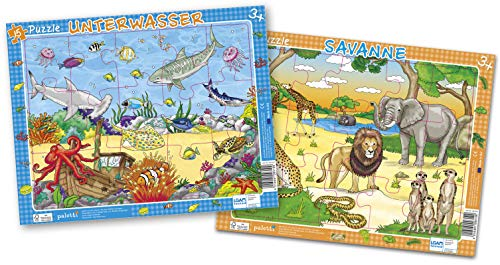 paletti Rahmenpuzzle Meerestiere und Savanne, 2er Set. je 15 Teile Lernspiel