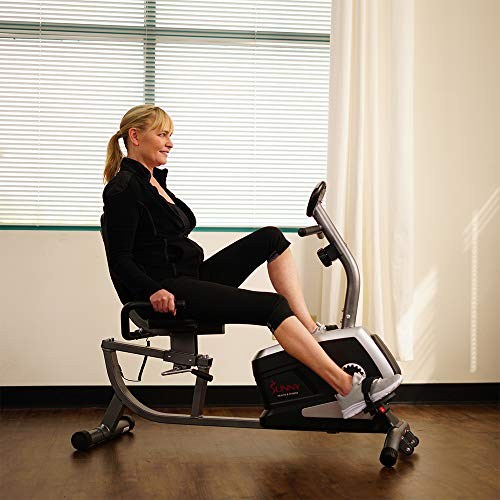 Sunny Health & Fitness Magnetic Recumbent Exercise Bike, Pulse Rate Monitoring, 300 lb Capacity, Digital Monitor and Quick Adjustable Seat   SF-RB4616