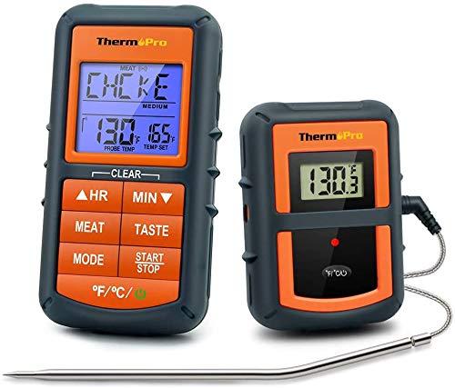 ThermoPro TP07C digitales Grillthermometer Küchenthermometer Eieruhr Funk Ofenthermometer 3 Leuchtungfarben Zuckerthermometer Küchenuhr für BBQ Grill Backen Wein