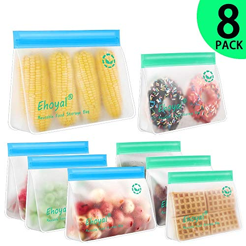 Reusable Ziplock Bags: Upgrade Stand Up Food Storage Bags, Lunch Bag, Snack Bag, BPA FREE Freezer Bag for Food Organization, 4 Large Reusable Storage Bags, 4 Medium Sandwich Bags