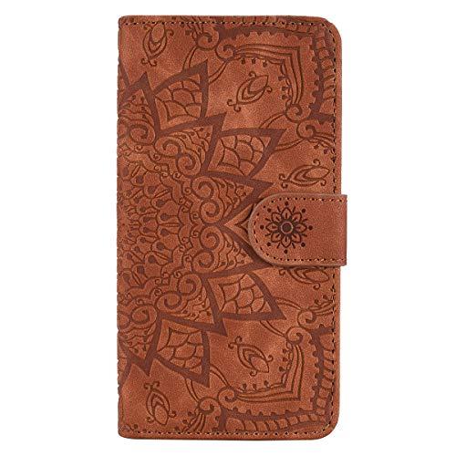 Lomogo Galaxy J5 2017 Hülle Leder, Schutzhülle Brieftasche mit Kartenfach Klappbar Magnetisch Stoßfest Handyhülle Case für Samsung Galaxy J5 2017/J530F - LOHFA010201 Braun