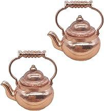 EXCEART 2 szt. miniatura herbata czajnik dla lalek dom dzbanek na herbatę 1: 12 miedzi garnek do herbaty dla 1: 12 dom dla...