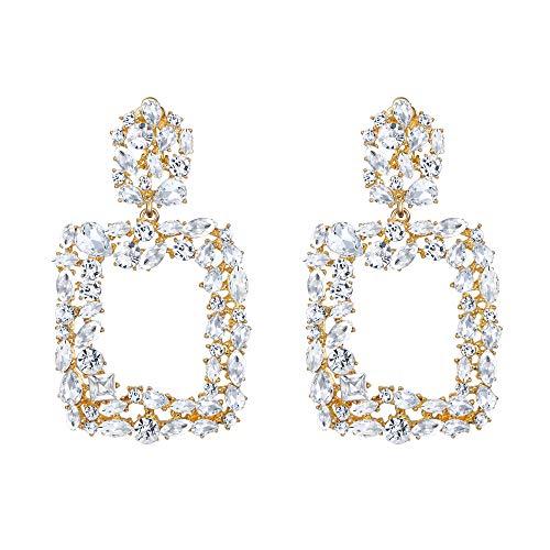 EVER FAITH Damen 6 Farben Groß Strass Kristall Quadrat Geometrische Statement Trapezförmige Ohrringe für Party Hochzeit Klar Gold-Ton