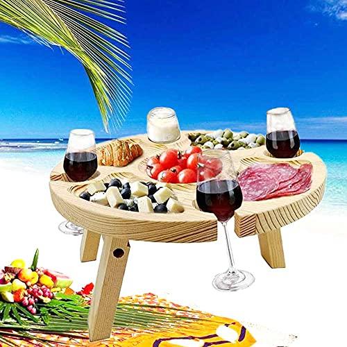 MZNTBW Picknicktisch Holz Klappbar Erwachsene Klein Weintisch Tragbar mit Glashalter Snack-tablett, 2-in-1 Outdoor Weintisch Runde Form Auch für Sand und Gras im Freien Garten Camping