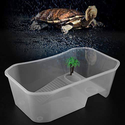 Ong Tanque de Tortuga con Plataforma para Tomar el Sol, Tanque de Peces Abierto Transparente, Tanque de Acuario para Reptiles para Oficina fpr en casa(White)