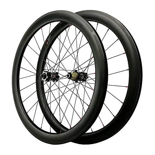ZCXBHD 700C Freno De Disco Ciclocross Bicicleta Carretera Juego De Ruedas Fibra Carbon Abierto Grasa Borde Rueda Eje Pasante Bicicleta Rueda 7 8 9 10 11 12 Velocidades (Color : Black, Size : 50MM)