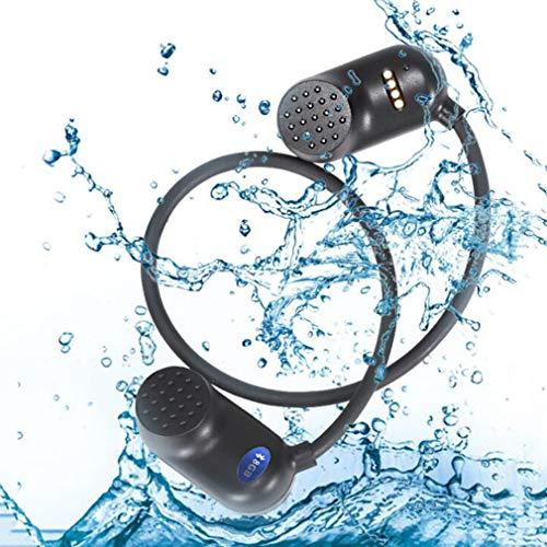 AQUYY Auriculares de Conducción ósea para Natación Bluetooth 5.0, IPX8 Impermeable Reproductor de mp3 de 8 GB, Open-Ear Auriculares Deportivos Inalambricos a Prueba de Sudor para Correr Fitness