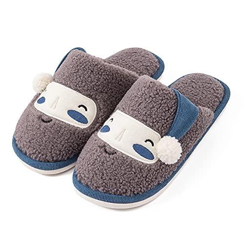 QAZW Cómodas Zapatillas Navideñas De Felpa con Cara Sonriente Zapatillas Cómodas y Cálidas De Felpa para La Casa con Espuma Viscoelástica Zapatillas Acolchadas para El Hogar,Grey-10.5-11