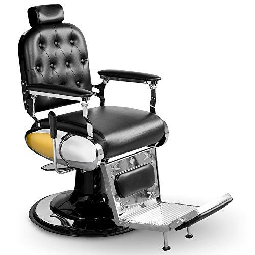 Herrenstuhl Friseurstuhl mit Fußablage Herrenbedienungsstuhl Barber Sessel 205024 schwarz gelb