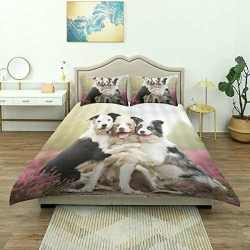 Duvet Cover,Pet Dog Husky Cute Dogs Hugging Together Purple Lavender Flowers, Bedding Set Comfy Lightweight Microfiber