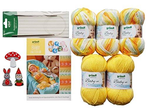 5X 50 Gramm Gründl Baby Uni/Color Wolle SB Pack inkl. Strick-Anleitung für Ein Kapuzenjäckchen, Eine Hose & Fäustlinge, Rundstricknadel und 1 Bügelflickmotiv (03 Gelb Mix)