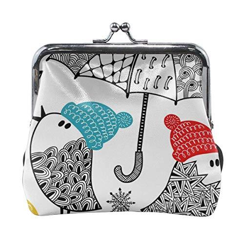 Uccelli con ombrelli e ombrelli in inverno Portafoglio con pochette con pochette in pelle floreale personalizzata classica per donna