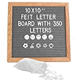 Grey Square Letter Board 10x10 Inch Felt Letter Board Including 350 White Plastic Letters Easel and Drawstring...