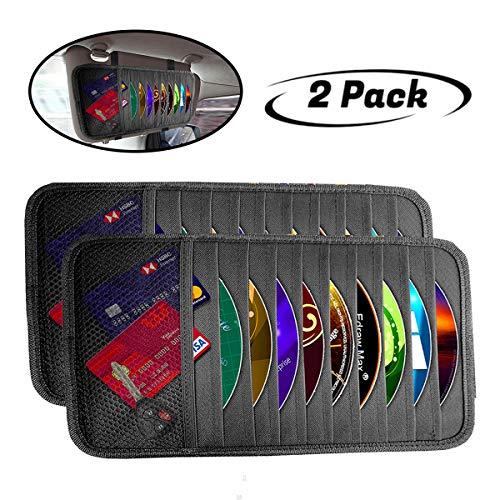 lebogner Car Sun Visor CD Holder and Vehicle Organizer, 2 Pack Auto Interior Accessories 10 Pocket CD, DVDs Storage Case, Registration, Document and Ticket Holder, Storage Pouch Organizer