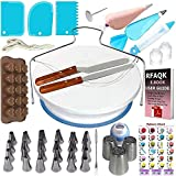 73 Unids/Set Fondant Cake Decorating Cutter Tools Molde Cookies Conjunto Completo Molde Cake Turntable Decorating Kitchen Baking Accesorios, 73 Unids