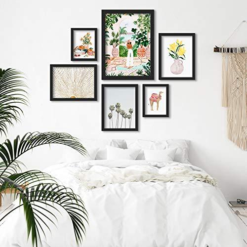 Americanflat Framed Gallery Wall Art Set - 6 Piece Watercolor Floral Botanical Camel by Sabina Fenn Black Framed Art