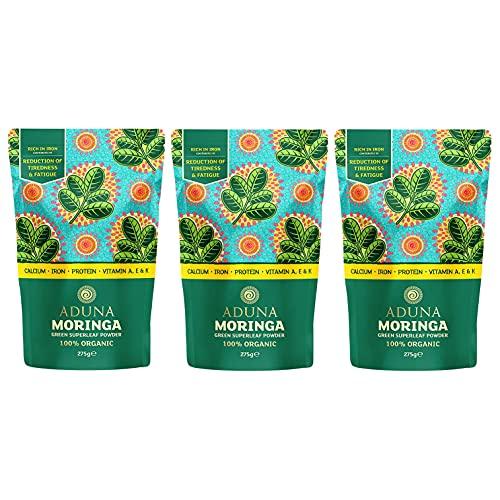 Aduna Organic Moringa Powder - 3 x 275g Resealable Pack   100% Pure Organic Moringa Leaf Powder 825g