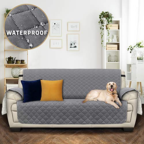 Utopia Bedding Impermeable Funda de sofá con Correas elásticas Ajustables - Microfibra Muebles Antideslizante Protector (3 plazas 190cmx167cm, Marrón/Beige) [NO Apto para SOFÁ DE Cuero]