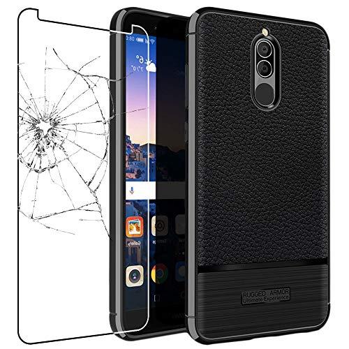 ebestStar - Funda Compatible con Huawei Mate 10 Lite 2017 Carcasa Silicona Gel, Protección Diseño Cuero Ultra Slim Case, Negro + Cristal Templado Protector [Aparato: 156.2x75.2x7.5mm 5.9