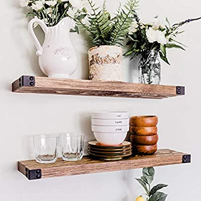WG WILLOW & GRACE DESIGNS Floating Shelves, Wall Mounted, Modern Rustic All Wood Wall Shelves, Set of 2 for Bedroom, Bathroom, Family Room, Kitchen with Decorative Iron Corner Decor - 24 x 6 x 1.5 inc