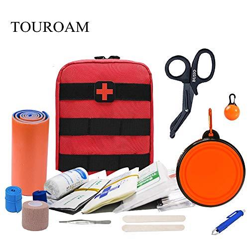TOUROAM Personas y Animales IFAK, Kit de Primeros Auxilios Aventurero Outdoor & Mascotas, Kit Supervivencia Emergencia, Acampar Caminata Táctico Militar First Aid Kit