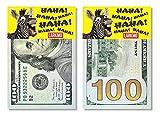 Larkmo The Pranking Zebra Funny $100 Gag, Realistic One Hundred Dollar Bill Joke Office Prank for Adults & Children, Great Practical Joke for April Fools, Kit of 50 Pieces.