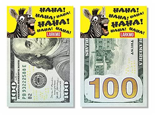 Larkmo The Pranking Zebra Funny $100 Gag, Realistic One Hundred Dollar Bill Joke Office Prank for...