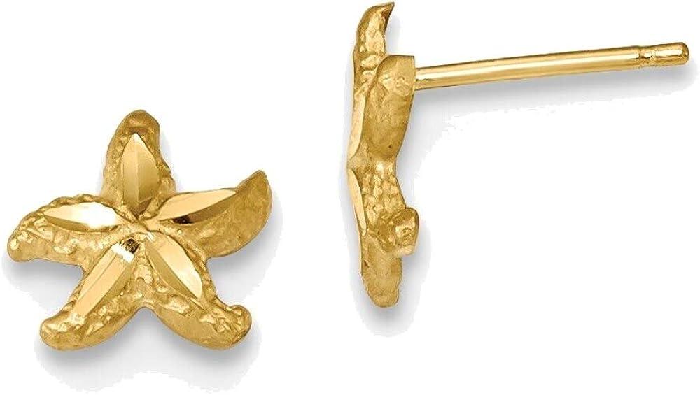 Satin Diamond-cut Starfish Post Earrings in 14K Yellow Gold