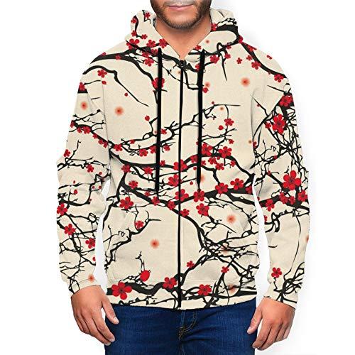 Vivid Japanese Garden Tree Branches - Sudadera con capucha para hombre, estilo asiático, informal, con cremallera completa, con bolsillos para uso diario