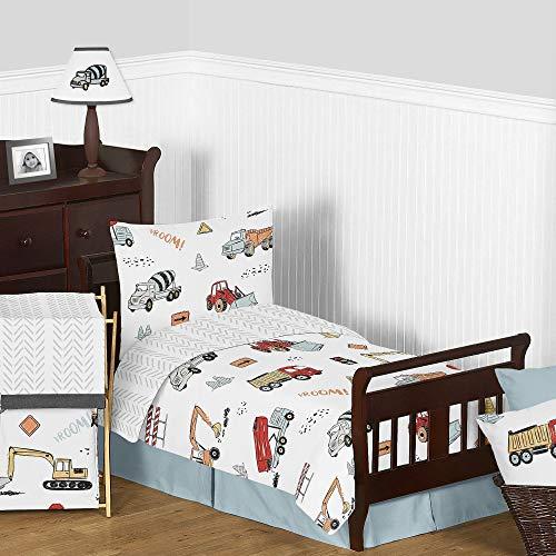 Sweet Jojo Designs Construction Truck Boy Toddler Kid Childrens Comforter Bedding Set - 5 Pieces Comforter, Sham and Sheets - Grey Yellow Orange Red and Blue Transportation Chevron Arrow