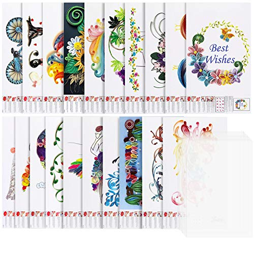 Larcenciel Quilling Papier Schablonen, 20 Stück Verschiedene Quilling Papier Vorlagen, Quilling Filigranes Muster DIY Papier mit 10 Stück PVC-Platten für Dekorative Karte, Wandkunst, Dekorationen