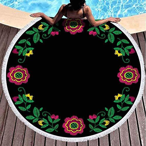 Toallas de Playa para niñas, Toalla de Playa de Secado rápido Toallas de Playa Suaves con Marco Floral Adorno Textil étnica Bohemia Estilo Hecho a Mano 59 Pulgadas Toalla de Playa de Microfibra