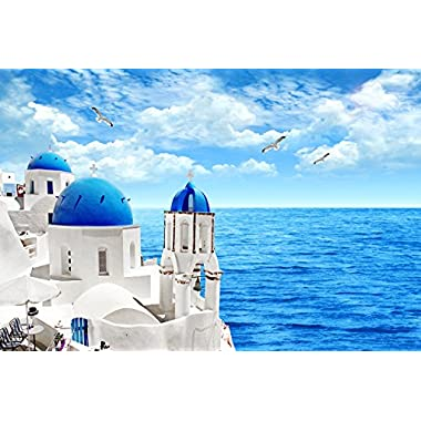 Wooden adult puzzle The roofs and Ocean View of Santorini, Greece, Premium 1000-Piece Puzzle