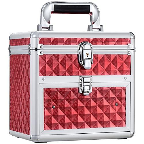 Frenessa Organizador de esmalte de uñas, estuche de viaje, caja de almacenamiento de accesorios de manicura, caja de maquillaje con llaves de espejo, estuche portátil para cosméticos, caja de joyería con cajón con cerradura, color rosa