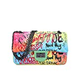 LIXIGB Bolso de Hombro con Estampado de PU con Letras de PU y Rombos para Mujer, Bolso Cruzado con asa Superior y Correa de Cadena,Multicolored