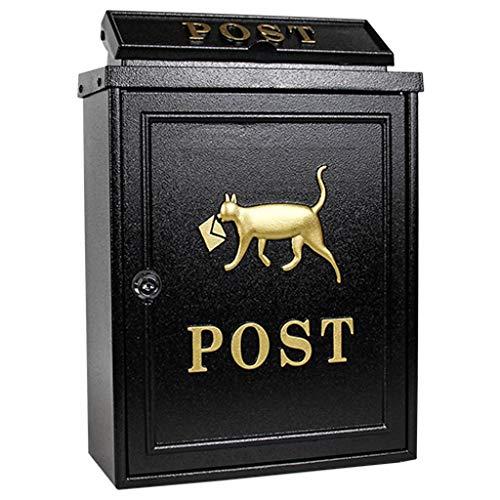 RSWLY Caja de buzones con buzón de Correos, Caja de buzones de Correo con Cerradura, Caja de Correos con buzón de Correos (Color : Black)