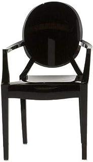 Kartell Loulou Ghost Silla, Policarbonato, Negro Brillante, 37x63x39 cm, 4 Unidades