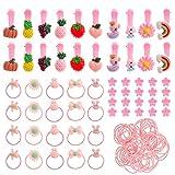 110 Stück Mädchen Haarschmuck Set, Mädchen Haarspangen Haargummis Mini Haarclips Haarklammern zum Baby Kinder Mädchen (Rosa)